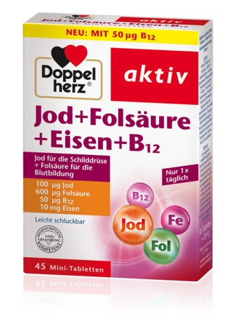 Doppelherz Jod + Folsäure + Eisen + B12